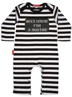 """Been locked up for 9 months"" would be better in my opinion. Still an adorable idea, cute to give at baby shower."