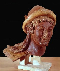 Head of Hermes. Etruscan, terracotta; from Veii, Italy; 3rd-2nd century BCE.  Villa Giulia National Museum, Rome, Italy
