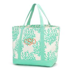 Mint Coral Canvas Tote. With monogram if you wish! http://thecoralcrab.com/products/mint-coral-canvas-tote