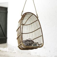 The Renoir rattan swing chair is both cozy and airy, creating an idyllic spot for relaxation. The hanging chair is handcrafted from natural rattan and built to last. Egg Swing Chair, Hammock Chair, Swinging Chair, Diy Chair, Swing Chairs, Hanging Chairs, Hanging Basket, Swing Chair For Bedroom, Hammock Stand