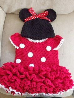 Crochet Baby Dress Red Minnie Mouse style dress and hat. MADE TO ORDER