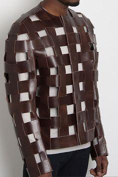 0 Artisanal Woven Band Leather Armour Jacket - Maison Martin Margiela