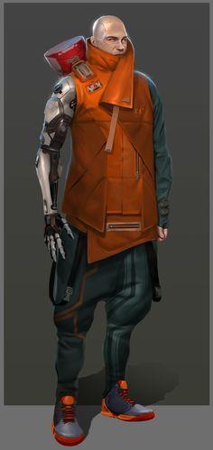 ArtStation - Cyberpunk Delivery Man, Eugene Postebaylo