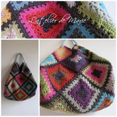 Several granny square bags. No patterns, but they are granny squares so....