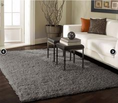 Venice Shaggy Grey rug (8-foot round is $319 on RugsUSA)