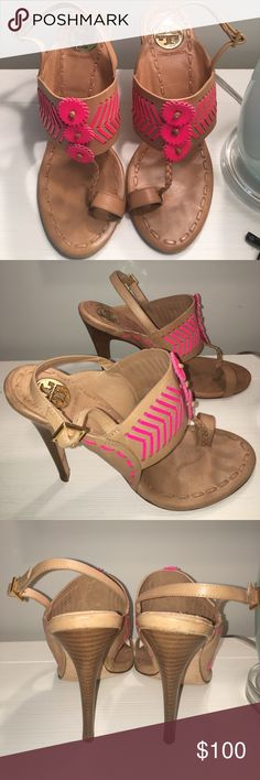 TORY BURCH SANDALS / HIGH HEELS Tory Burch sandals, with high heel. Neon pink detail. Tory Burch Shoes Heels