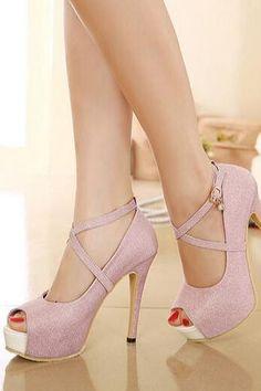 Gorgeous Cross Strap Pink Peep Toe Pumps