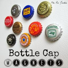 Bottle Cap Magnets.  Easy upcycle project!