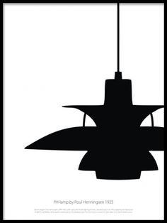 Grafisk plansch med designlampa . Grafiska posters och prints i svartvitt. www.desenio.se