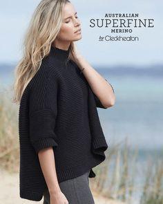 Hand made Oversize Crochet Top in Australian Superfine Merino - 01 Black