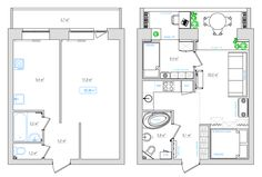 New apartment architecture plans layout interior design 16 Ideas Studio Apartment Layout, Apartment Design, Studio Floor Plans, Cool Apartments, Tiny House Plans, Cabin Plans, House Layouts, Home Interior Design, Small Spaces