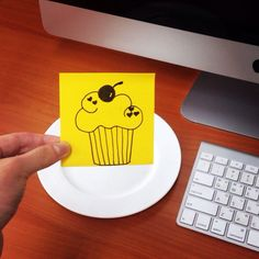I want a cupcake! #postitdoodle #postit #doodle #want #some #cupcake #workhard #eat #yellow #sweet #plate #memo #daily #everyday