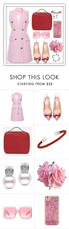 """""""Pink dress"""" by loveazerbayjani ❤ liked on Polyvore featuring Christian Louboutin, CHARLES & KEITH, Majorica, Gucci and ban.do"""