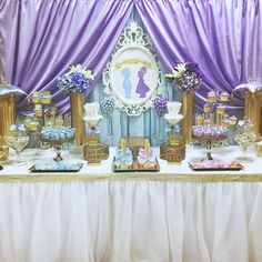 Blue and purple royal prince and princess baby shower party! See more party planning ideas at CatchMyParty.com!