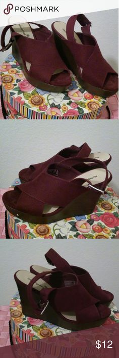 Suede wedge sandals Maroon suede wedge sandals. 3 inch heels. Comfortable but bought a little big. Still wore a few times. Montego bay Shoes Wedges