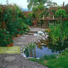 Urban garden with small pond and stepping stone path leading to seating area
