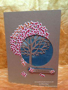 """Stampin' Up! Karte mit """"Wald der Worte"""", """"Blatt und Blüte"""" und """"Bannerweise Grüße"""" Thoughtful Branches / Beautiful Branches"""