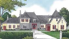 Refined French Country Chateau - 17761LV | European, French Country, Luxury, 1st Floor Master Suite, Bonus Room, Butler Walk-in Pantry, CAD Available, Den-Office-Library-Study, Elevator, In-Law Suite, Loft, MBR Sitting Area, Media-Game-Home Theater, PDF, Wrap Around Porch | Architectural Designs