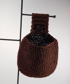 Brown Hanging Basket, Hanging Catchall, Key Storage Basket, Crochet Basket, Doorknob Basket, Car Trash Basket, Cell Phone Station