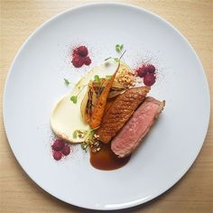 Skeaghanore Duck breastbeetrootceleriacbaby carrotyoung onion and jus. Duck Recipes, Gourmet Recipes, Cooking Recipes, Gourmet Food Plating, Food Plating Techniques, Parsnip Puree, Food Science, International Recipes, Gastronomia