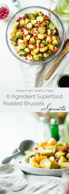 Superfood Roasted Brussels Sprouts with Bacon - These salty-sweet roasted Brussels sprouts are tender, crispy and have a surprise superfood pomegranate crunch! They're the perfect, paleo-friendly healthy Thanksgiving side! | Foodfaithfitness.com | @FoodFaithFit