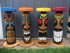 Give your tropical oasis some style with these hand carved tiki face bar stools! Tiki Bar Stools, Tiki Bar Decor, Decoration Surf, Outdoor Tiki Bar, Outdoor Bar Stools, Tikki Bar, Arte Pallet, Tiki Faces, Tiki Head