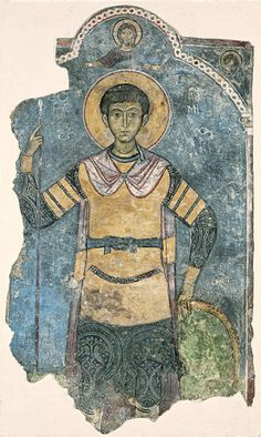 Cyprus exhibition, Louvre, 2013, fresco of St Demetrios, 12th-13thc, Monastery of Kykkos
