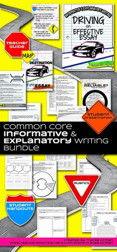 Common Core Informative and Explanatory Writing Bundle - take your students on a writing road trip Persuasive Essay Topics, Expository Writing, Essay Prompts, Essay Writing, Argumentative Essay, Writing Prompts, Writing Lessons, Writing Resources, Teaching Writing
