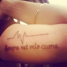 """Forever in my heart"" in italian. & a heartbeat that goes flatline for my dad. #tattoo #italian #formydad"