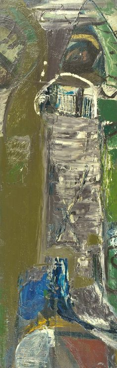 Peter Lanyon - Bodmin Moor, 1953 oil on masonite on board, 26 3/4 x 8 1/2 in / 68 x 21.5 cm