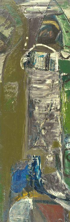 Peter Lanyon - Bodmin Moor, 1953 oil on masonite on board, 26 3/4 x 8 1/2 in / 68 x 21.5 cm