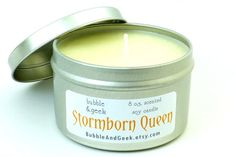 Stormborn Queen Scented Soy Candle   8 oz. tin  by bubbleandgeek, $10.00