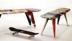 Recycled Skateboard Bench...Judson's room.