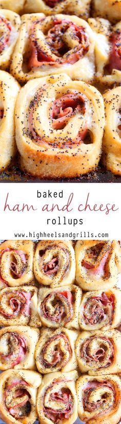Ham and Cheese Rollups Baked Ham and Cheese Rollups - a crowd pleaser at every Sunday brunch!Baked Ham and Cheese Rollups - a crowd pleaser at every Sunday brunch! Think Food, I Love Food, Good Food, Yummy Food, Snacks Für Party, Game Party, Party Party, Party Entrees, Snacks Kids
