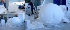 Work in Progress / Réalisation d'une sculpture Art Toy géant en polystyrène et résine pour le nouveau