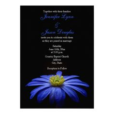 Beautiful Blue Flower on Black Wedding Invitations