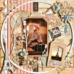 "This is one stunning scrapbook layout by @Karen Zeuger named ""Waiting For Paris."" She used A Ladies' Diary. What a beauty! #graphic45 #layouts #scrapbooking"