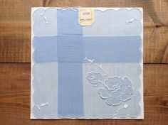 Wedding Handkerchief something blue antique gift vintage flower embroidered hanky doily linen