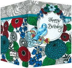 Happy Birthday card with floral design and blue bird.  Blank inside.  Available wholesale or retail:  http://www.violetcottage.com/birthday/15-happy-birthday-card-blank-inside-red-turquoise-flowers-bird.html