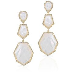 14KT Yellow Gold Mother Of Pearl Diamond Ice Earrings (€3.230) ❤ liked on Polyvore