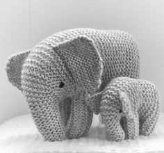 Free Knitting Pattern for Oliphaunt Elephant Toy - This elephant toy is knit in one piece from the rear legs forward to the trunk, shaped with short rows, and then sewn. Size depends on yarn weight and needles used. Designed by Cristina Bernardi Shiffman
