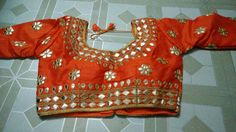 Blouse stuff: Golden Gota Patti work on Dhupian fabric, max one can alter according to size. Blouse Styles, Blouse Designs, Gold Models, Floral Tops, Blouses, Fabric, Women, Fashion, Tejido