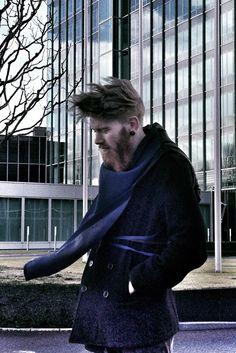 Ingimar wearing blue&black Warmour™ by FOORIAT