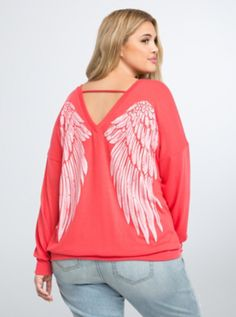 Plus Size Wing Back Top, CORAL