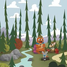 Scouts - Rest Stop - Whimsical Storybook Artwork of a small troop of Animal Scouts exploring the great out doors - Chopping Wood  #kidsroomart #kidsart #kidsroom #whimsicalart #adventure #kidsroomwallart #wallart #animals #storybook #kidsbookart #childrensbookart