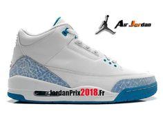 separation shoes 63a32 24263 Chaussure Basket Jordan Prix Pour Femme Air Jordan 3 Retro GS Blanc Bleu  398614-107
