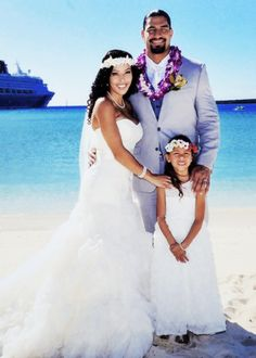 In early December 2014, Joe Anoa'i (WWE Superstar Roman Reigns) married his longtime girlfriend Galina Becker. The couple included their daughter Joelle in their romantic oceanside ceremony. They have been dating since their days together at Georgia Tech University.
