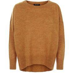 Tan Boxy Slouch Jumper (41 CAD) ❤ liked on Polyvore featuring tops, sweaters, brown sweater, slouch sweater, jumper top, slouchy sweater and slouchy tops