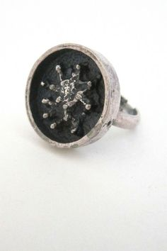 Robert Larin, Canada - vintage brutalist pewter 'lichen' ring