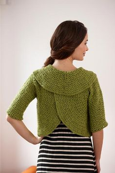 (Piece is worked in 2 circular, separate pieces.   Kind of neat.  ASW)   Free Crochet Pattern L30108 Round-About Cropped Cardi : Lion Brand Yarn Company